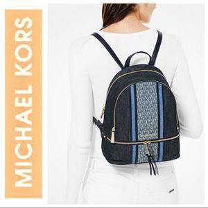 NEW MICHAEL KORS Rhea Denim Logo BACKPACK Bag